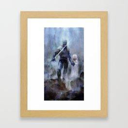 Knight and Girl Framed Art Print