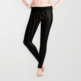 Modern Golden Lines Striped Pattern Leggings