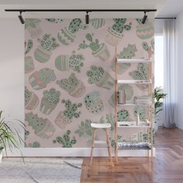 Blush pink mint green rose gold cactus floral Wall Mural