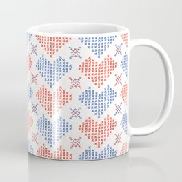 Hand Drawn Embroidery Love Heart Stitches Seamless Vector Pattern Coffee Mug