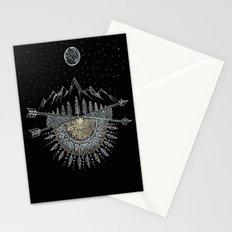 Moon and Stars Night Sky Mountain Range Arrow Mandala Stationery Cards