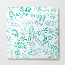 Teal turquoise blue white watercolor foliage Metal Print