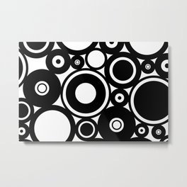 Retro Black White Circles Pop Art Metal Print