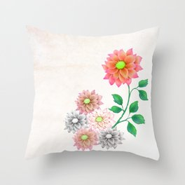Sweet Dahlias Throw Pillow
