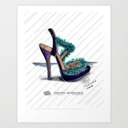 Fluffy feather purple heels Art Print