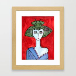 American Maiko with Red Background Framed Art Print