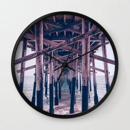 Balboa Pier Print {2 of 3} | Newport Beach Ocean Photography Magenta Summer Sun Wave Art Wall Clock