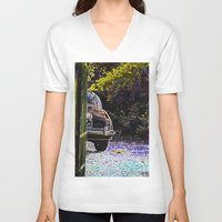 car V-neck T-shirts featuring Car by Lior Blum