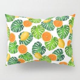 Oranges Lemons Monstera White Pillow Sham