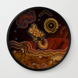 Desert Heat - Australian Aboriginal Art Theme Wall Clock