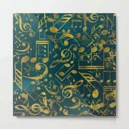 Golden Grunge  Musical notes pattern on teal Metal Print