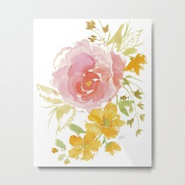 Rose with Yellow Flowers Metal Print