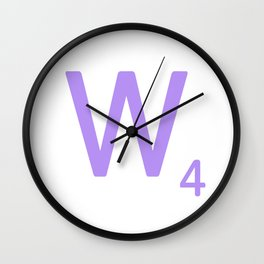 Mauve W Scrabble Monogram Art Wall Clock