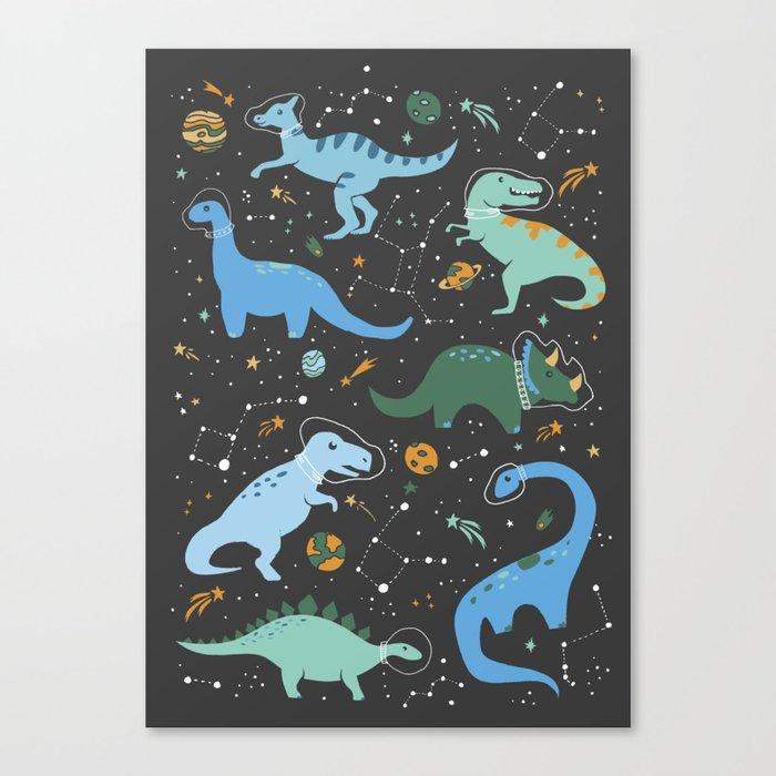 Dinosaurs in Space in Blue Leinwanddruck
