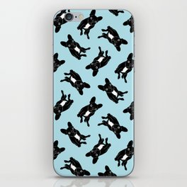 Cute brindle French Bulldog in black and white digital art iPhone Skin