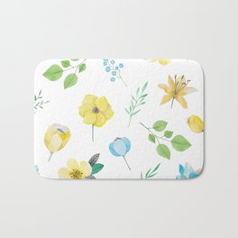 floral pattern with yellow flowers Bath Mat