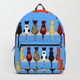 Cat Fence Sitters (Blue) Backpack
