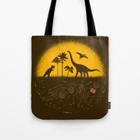 pocket fuel Tote Bags featuring Fossil Fuel by Graham Dobson