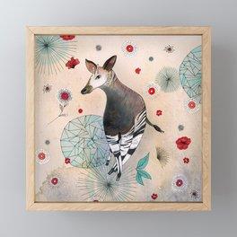 Flowery Okapi Framed Mini Art Print