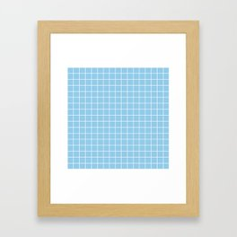 Light cornflower blue - heavenly color - White Lines Grid Pattern Framed Art Print