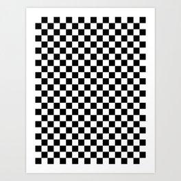 White and Black Checkerboard Art Print