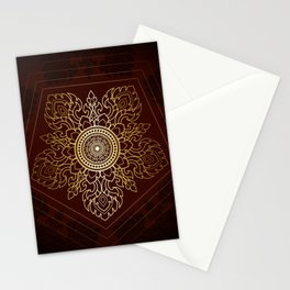 Mandala thai art pattern, star in pentagon shape a mandala style. Stationery Cards