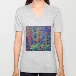 Forest - with exaggerated colors Unisex V-Neck