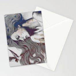 Monument: Red & Blue (sleeping beauty, woman with skyline tattoo and bird) Stationery Cards