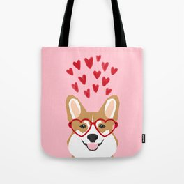 Corgi heart glasses dog breed valentines day welsh corgis gifts Tote Bag