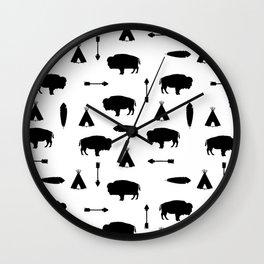 Buffalo Tribe // Solid Black Wall Clock