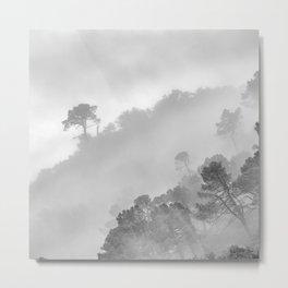 Mountain light. BW square Metal Print