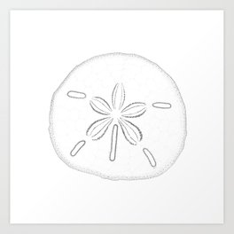 Sand Dollar Blessings - Black on White Pointilism Art Art Print