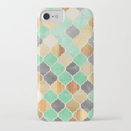 Charcoal, Mint, Wood & Gold Moroccan Pattern iPhone Case