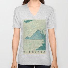 Virginia State Map Blue Vintage Unisex V-Neck