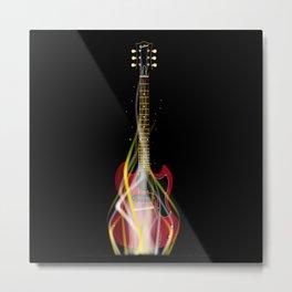 Burning Solid Electric Guitar Metal Print