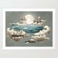 water color Art Prints featuring Ocean Meets Sky by Terry Fan