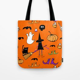 Cute #Halloween Witch and Friends Orange Tote Bag
