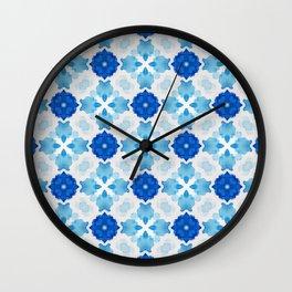Watercolor Geometry Blue Wall Clock