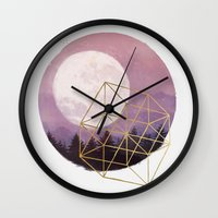 the moon Wall Clocks featuring moon by Laura Graves