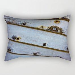 Old White Wooden Boat Rectangular Pillow
