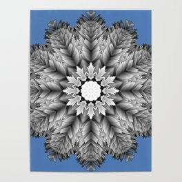 Abstract icy winter flower mandala Poster