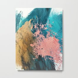 Coral Reef [1]: colorful abstract in blue, teal, gold, and pink Metal Print