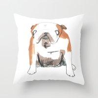 bulldog Throw Pillows featuring Bulldog by jo clark