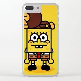 sponge new fun cartoon style sticker iphone cover case wallet bob Clear iPhone Case