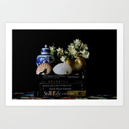 Still Life with Books and Nautilus Shells Art Print