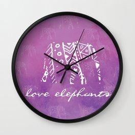 Elephant Love Purple Wall Clock