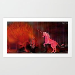 THE REDBULL AND THE UNICORN Art Print