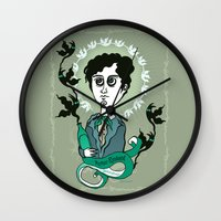 writer Wall Clocks featuring Rimbaud Holy Writer by roberto lanznaster