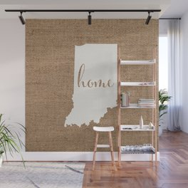 Indiana is Home - White on Burlap Wall Mural