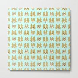 Cute Corgis Allover Pattern Metal Print
